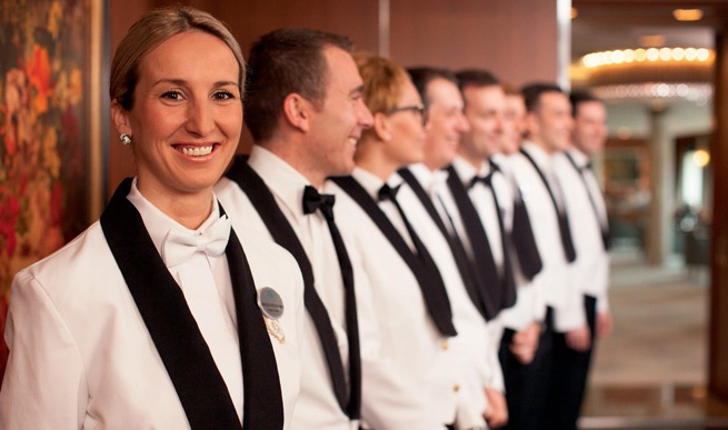 service, waiters, line up, crystal dining room